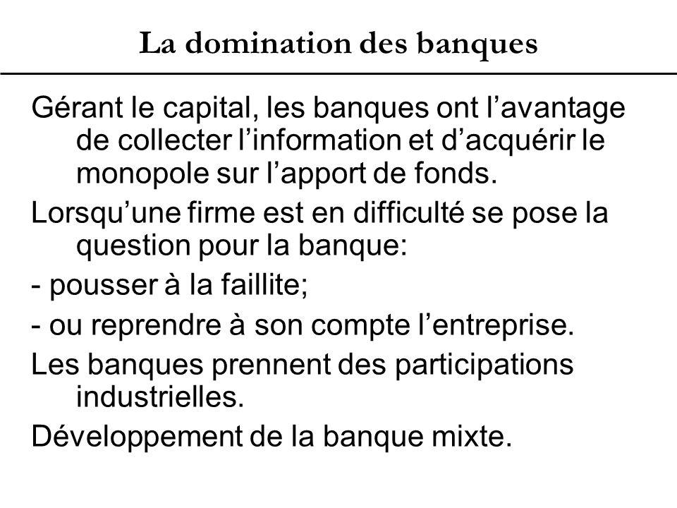 La domination des banques Gérant le capital, les banques ont l'avantage de collecter l'information et d'acquérir le monopole sur l'apport de fonds.