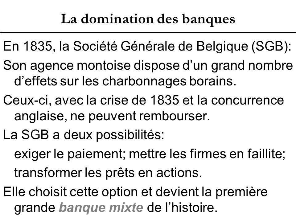 La domination des banques En 1835, la Société Générale de Belgique (SGB): Son agence montoise dispose d'un grand nombre d'effets sur les charbonnages borains.