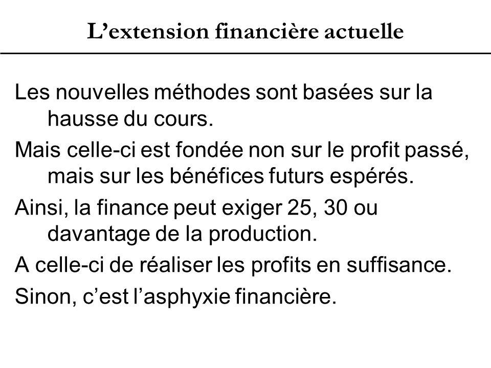 L'extension financière actuelle Les nouvelles méthodes sont basées sur la hausse du cours.