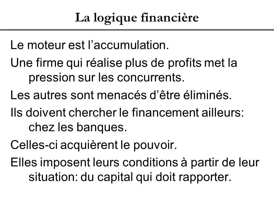 La logique financière Le moteur est l'accumulation.