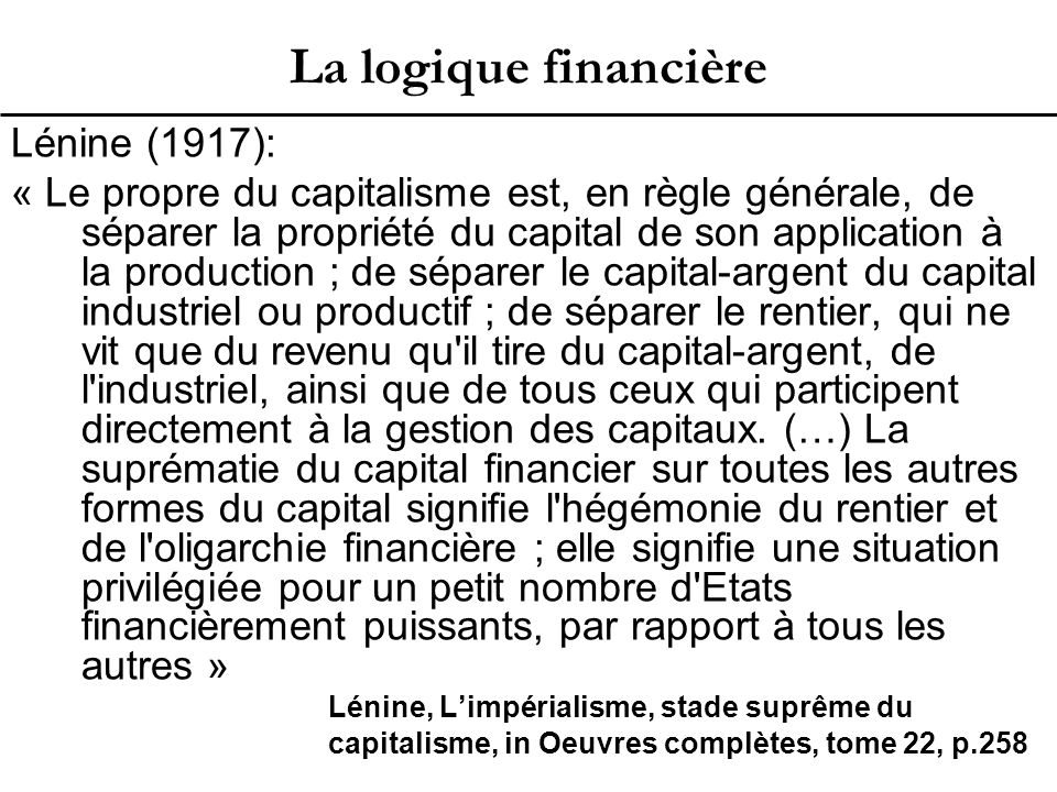 Le capital financier 1.Qu'est-ce que le capital financier.