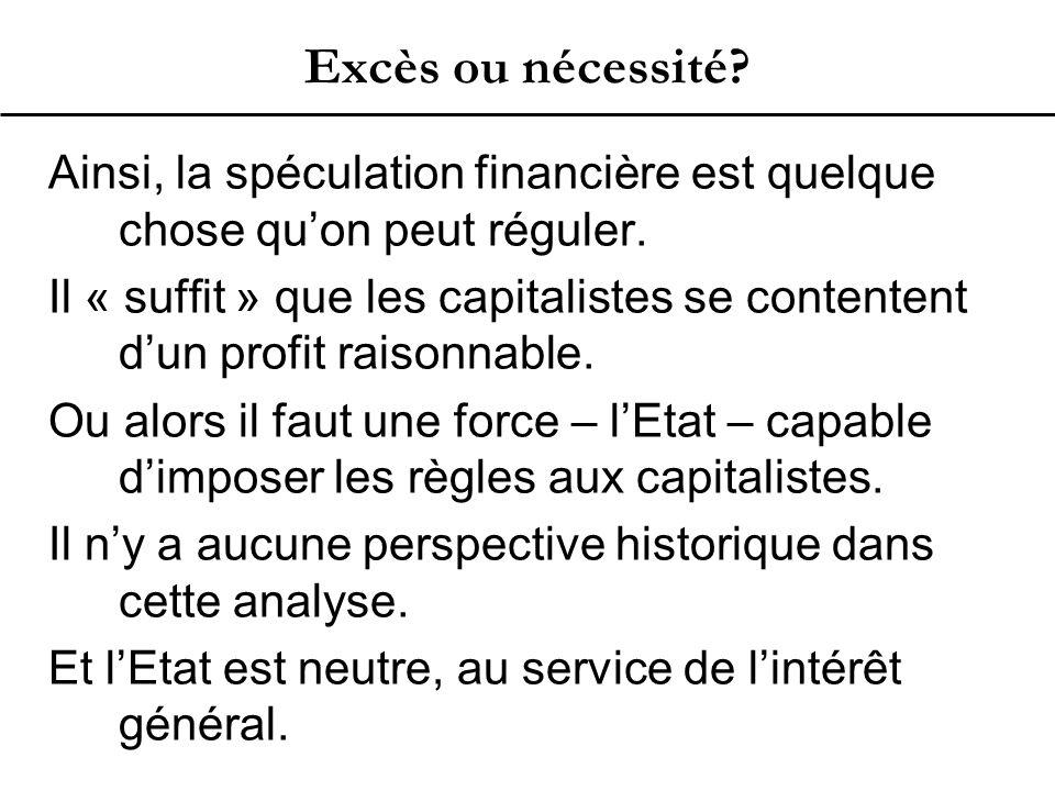 Excès ou nécessité.Ainsi, la spéculation financière est quelque chose qu'on peut réguler.