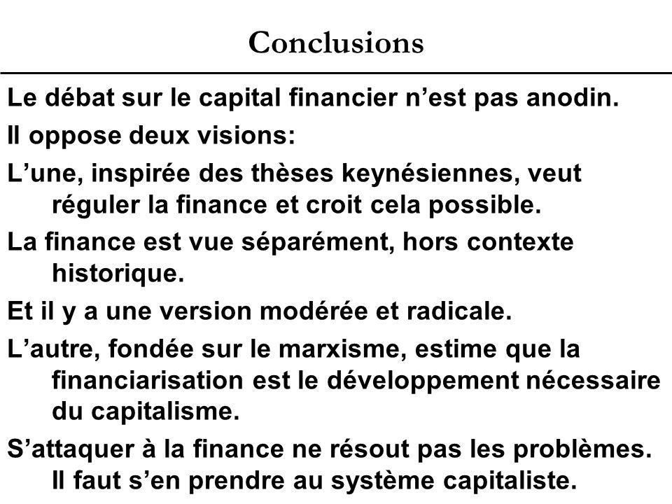 Conclusions Le débat sur le capital financier n'est pas anodin.