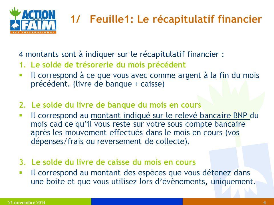 21 novembre 20144 1/ Feuille1: Le récapitulatif financier 4 montants sont à indiquer sur le récapitulatif financier : 1.Le solde de trésorerie du mois