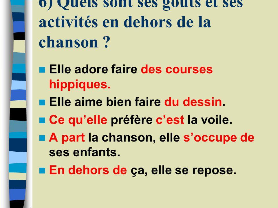 5) Vit-il en France ? Où ? Elle vit en France et en Belgique. Elle vit à cheval entre la France et la Belgique. Elle partage sa vie entre la France et