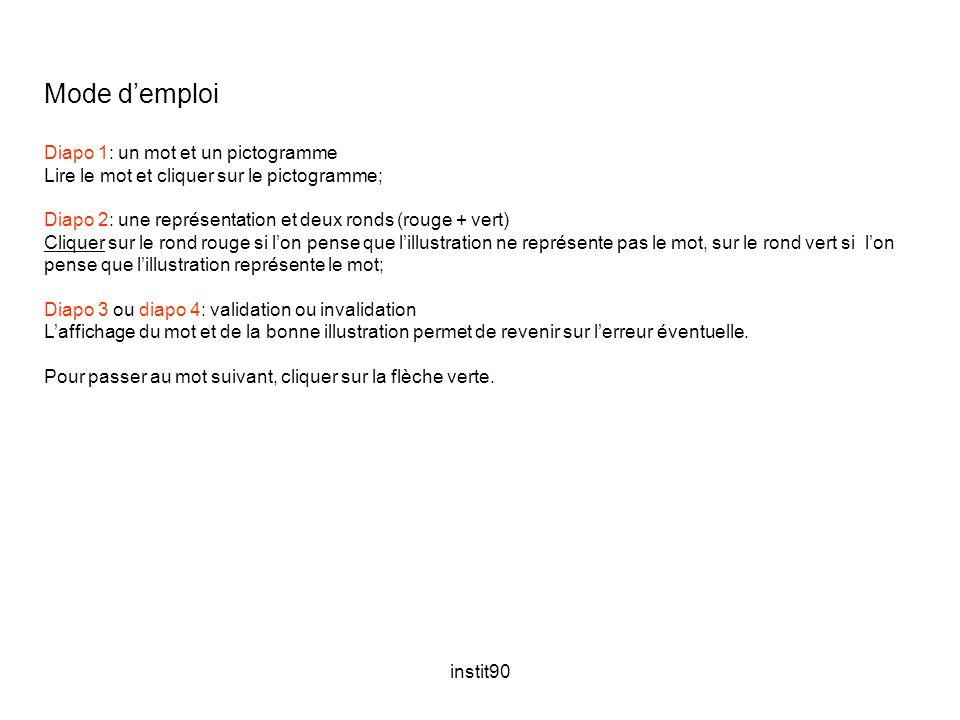 instit90 Mode d'emploi Diapo 1: un mot et un pictogramme Lire le mot et cliquer sur le pictogramme; Diapo 2: une représentation et deux ronds (rouge +