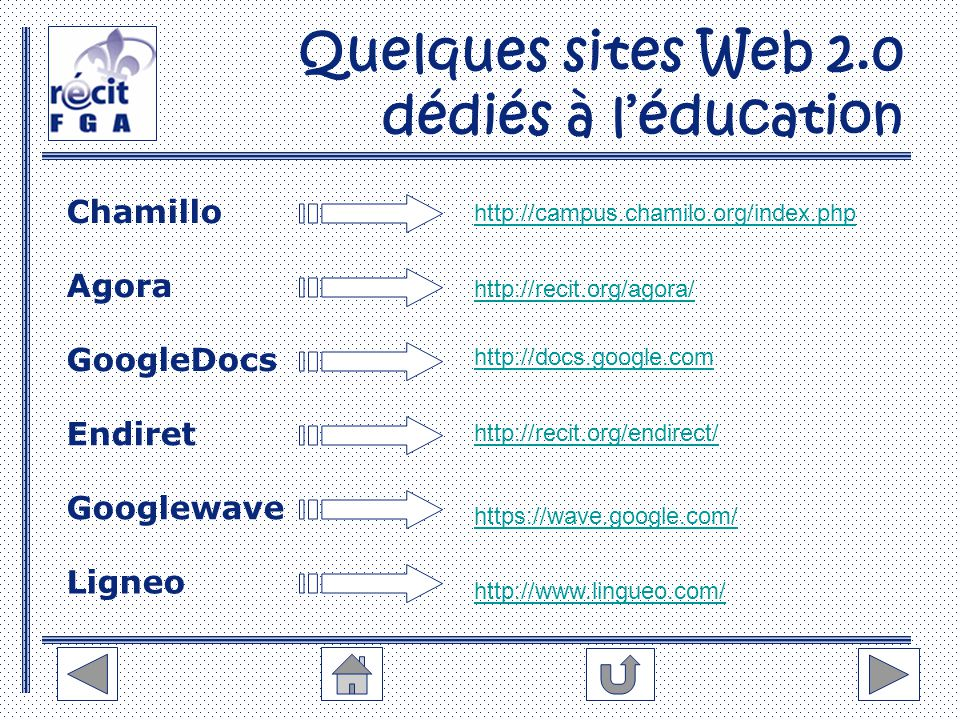 Quelques sites Web 2.0 dédiés à l'éducation Chamillo Endiret Agora Googlewave GoogleDocs Ligneo http://campus.chamilo.org/index.php http://recit.org/a