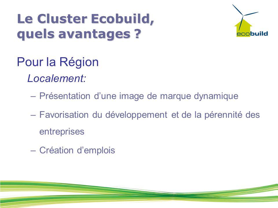 Pour la Région Localement: –Présentation d'une image de marque dynamique –Favorisation du développement et de la pérennité des entreprises –Création d'emplois