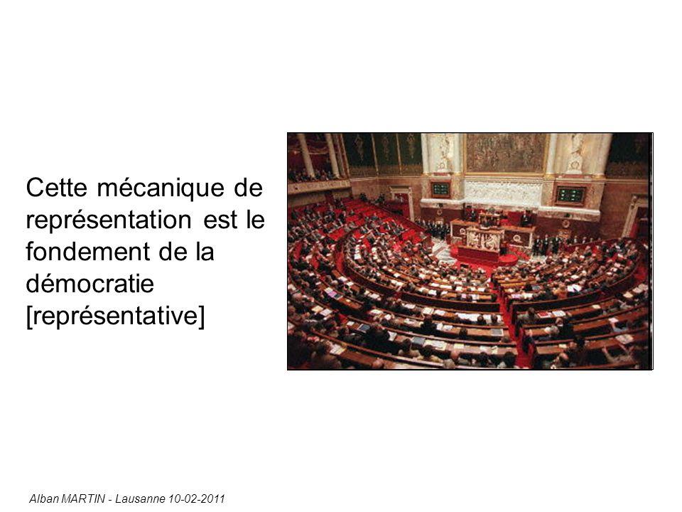 Cette mécanique de représentation est le fondement de la démocratie [représentative] Alban MARTIN - Lausanne 10-02-2011