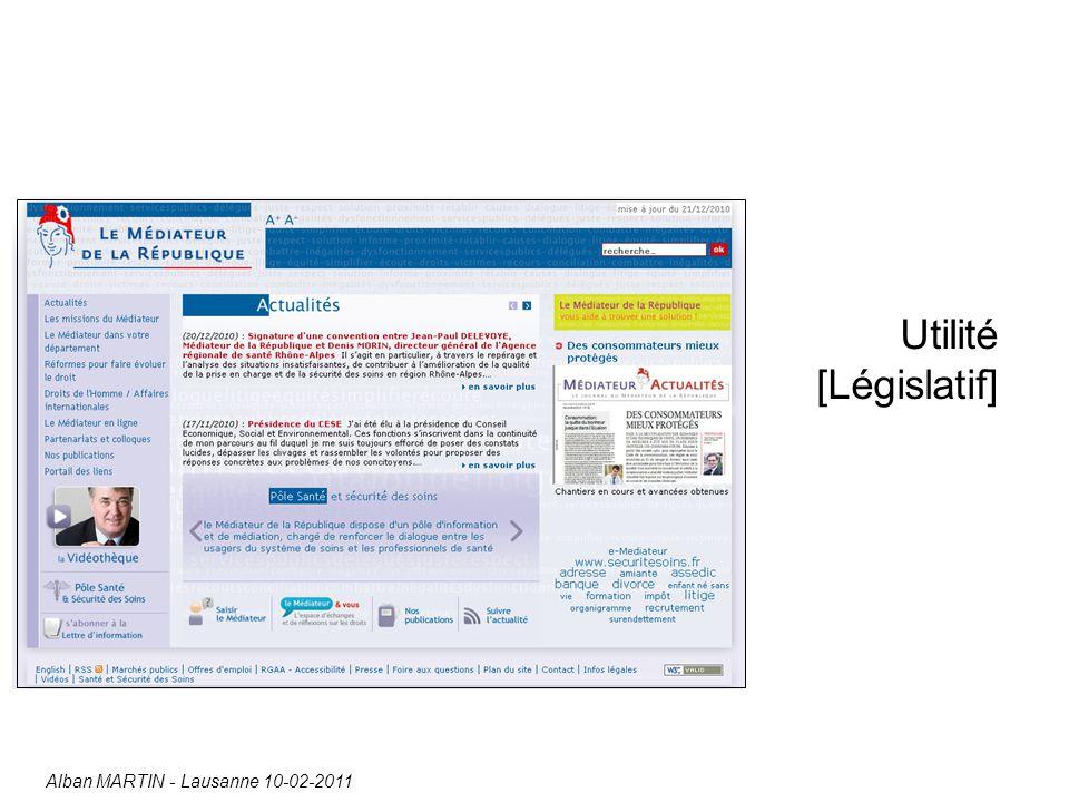 Utilité [Législatif] Alban MARTIN - Lausanne 10-02-2011