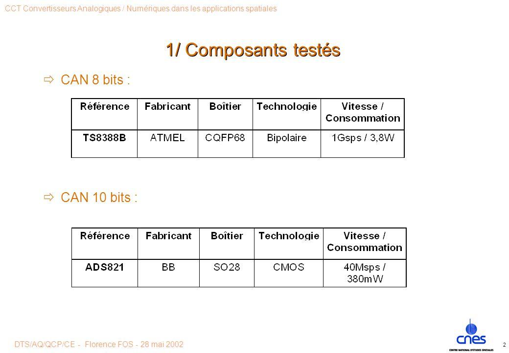 DTS/AQ/QCP/CE - Florence FOS - 28 mai 2002 CCT Convertisseurs Analogiques / Numériques dans les applications spatiales 2 1/ Composants testés  CAN 8 bits :  CAN 10 bits :