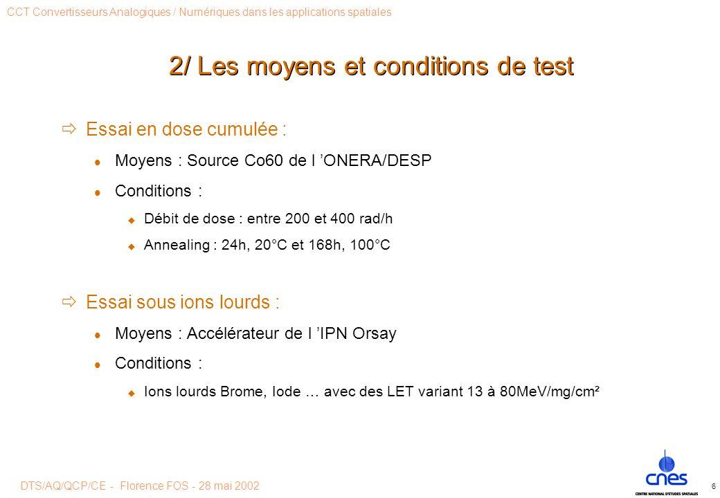 DTS/AQ/QCP/CE - Florence FOS - 28 mai 2002 CCT Convertisseurs Analogiques / Numériques dans les applications spatiales 6 2/ Les moyens et conditions de test  Essai en dose cumulée : Moyens : Source Co60 de l 'ONERA/DESP Conditions :  Débit de dose : entre 200 et 400 rad/h  Annealing : 24h, 20°C et 168h, 100°C  Essai sous ions lourds : Moyens : Accélérateur de l 'IPN Orsay Conditions :  Ions lourds Brome, Iode … avec des LET variant 13 à 80MeV/mg/cm²