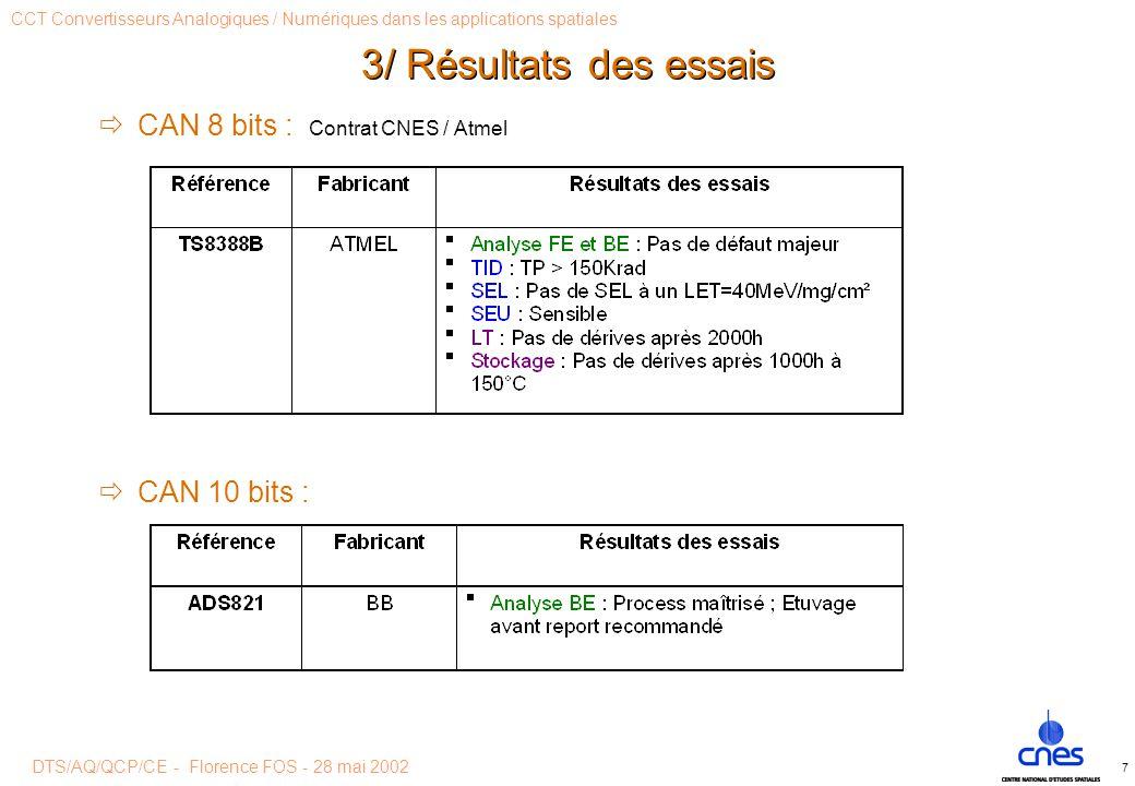 DTS/AQ/QCP/CE - Florence FOS - 28 mai 2002 CCT Convertisseurs Analogiques / Numériques dans les applications spatiales 7 3/ Résultats des essais  CAN 8 bits : Contrat CNES / Atmel  CAN 10 bits :