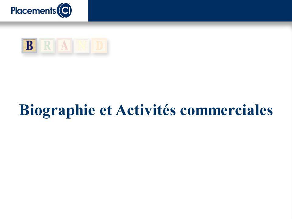 Biographie et Activités commerciales