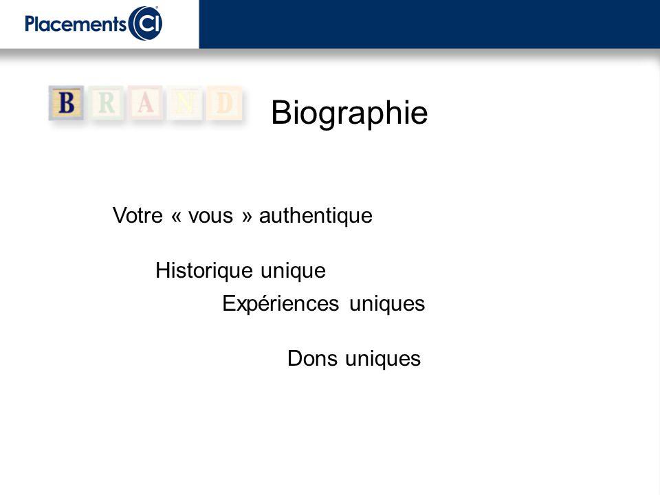 Dons uniques Expériences uniques Historique unique Votre « vous » authentique Biographie