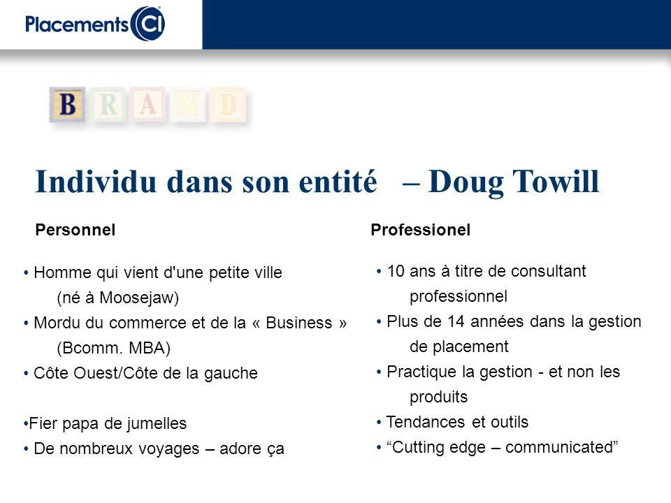 Individu dans son entité Personnel Professionel – Doug Towill 10 ans à titre de consultant professionnel Plus de 14 années dans la gestion de placemen