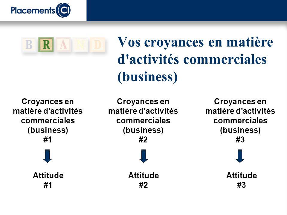 Vos croyances en matière d'activités commerciales (business) Croyances en matière d'activités commerciales (business) #3 Attitude #1 Attitude #2 Attit