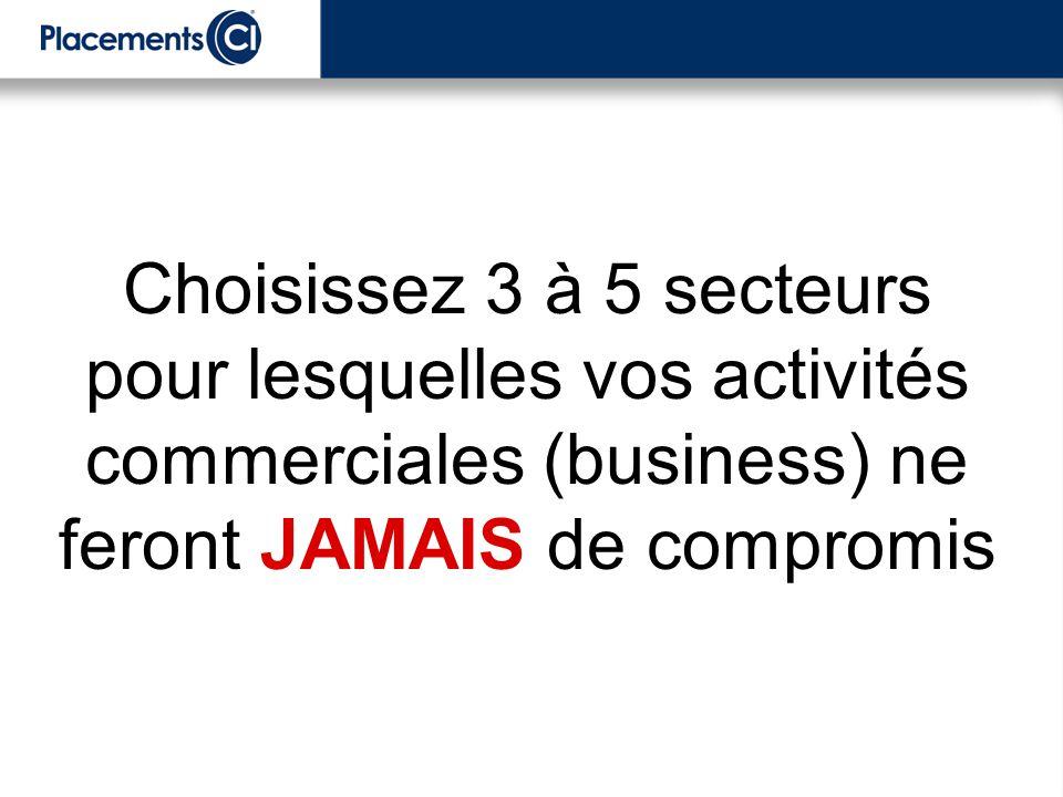 Choisissez 3 à 5 secteurs pour lesquelles vos activités commerciales (business) ne feront JAMAIS de compromis