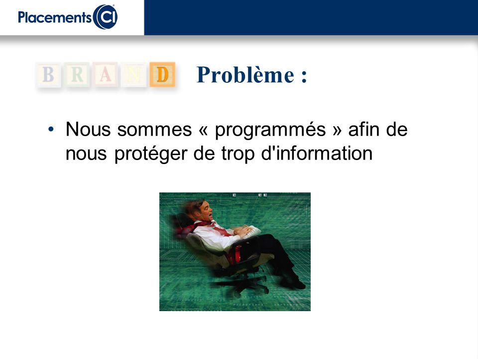 Problème : Nous sommes « programmés » afin de nous protéger de trop d'information