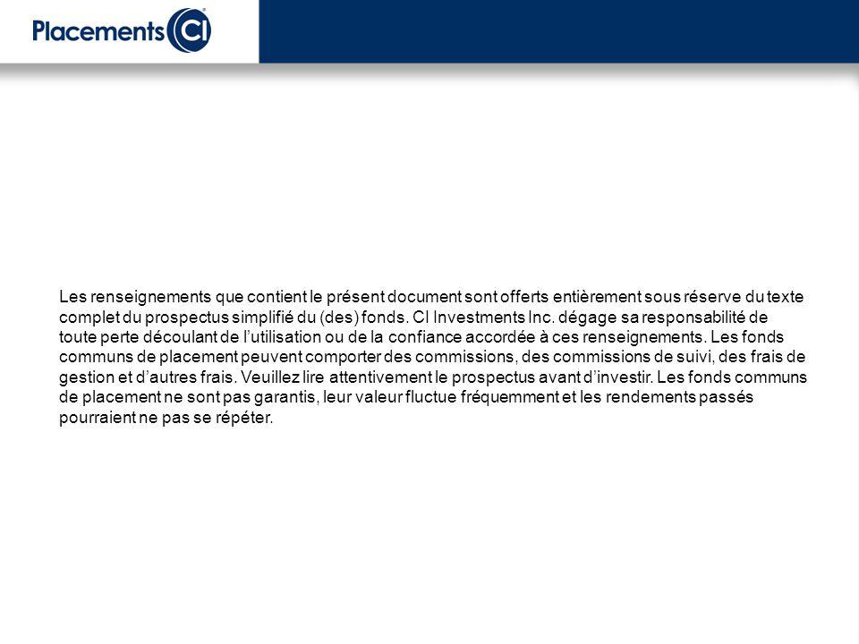 Les renseignements que contient le présent document sont offerts entièrement sous réserve du texte complet du prospectus simplifié du (des) fonds. CI