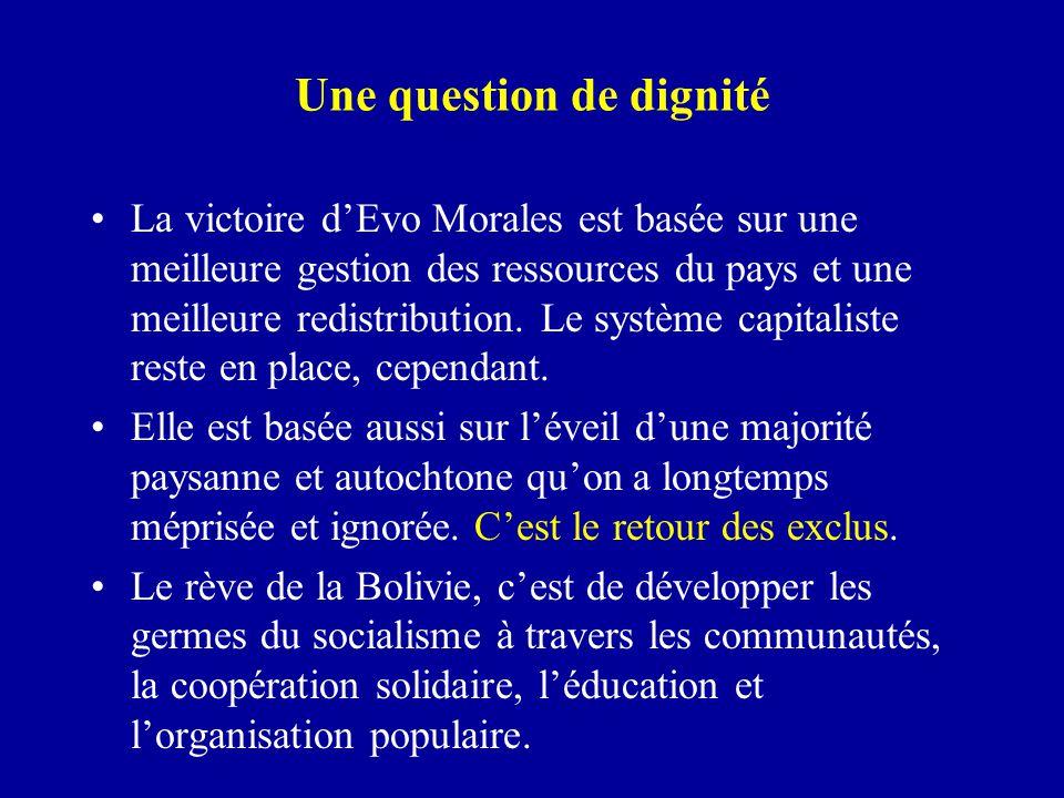 Une question de dignité La victoire d'Evo Morales est basée sur une meilleure gestion des ressources du pays et une meilleure redistribution. Le systè