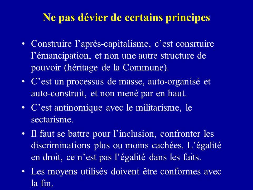 Ne pas dévier de certains principes Construire l'après-capitalisme, c'est consrtuire l'émancipation, et non une autre structure de pouvoir (héritage de la Commune).