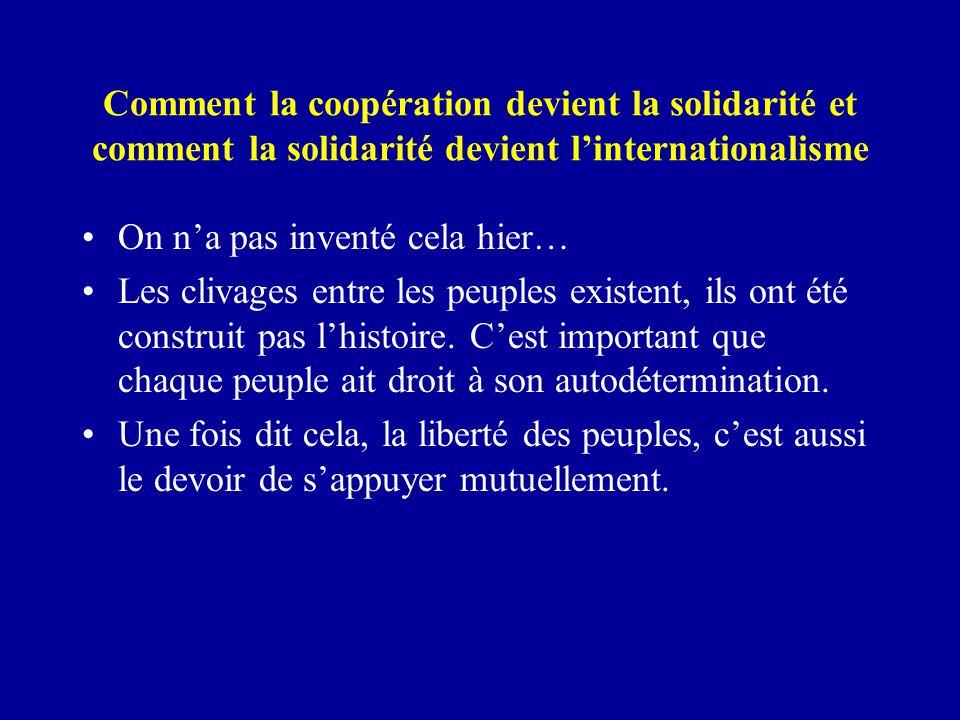 Comment la coopération devient la solidarité et comment la solidarité devient l'internationalisme On n'a pas inventé cela hier… Les clivages entre les peuples existent, ils ont été construit pas l'histoire.