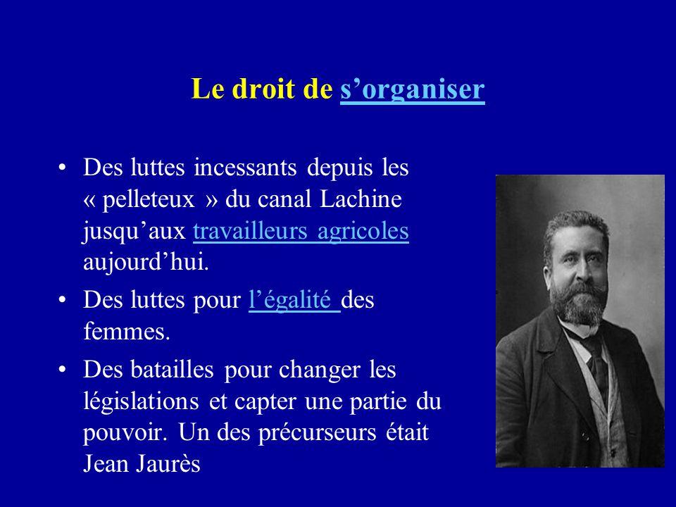Le droit de s'organisers'organiser Des luttes incessants depuis les « pelleteux » du canal Lachine jusqu'aux travailleurs agricoles aujourd'hui.travai