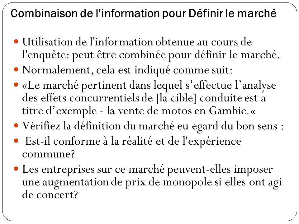 Combinaison de l information pour Définir le marché Utilisation de l information obtenue au cours de l enquête: peut être combinée pour définir le marché.