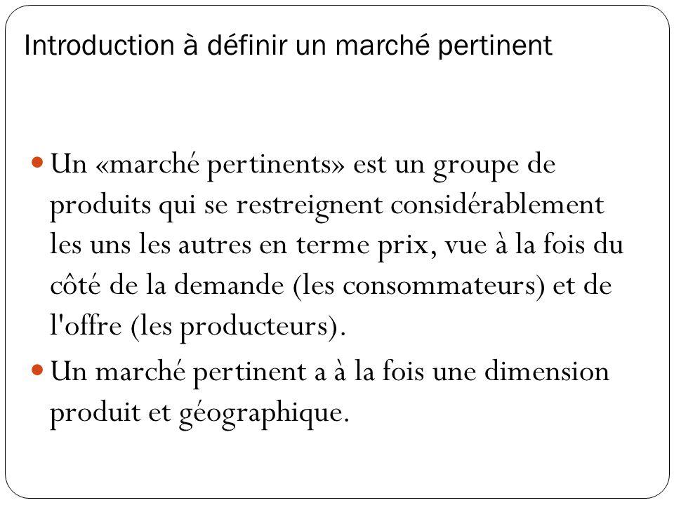 Introduction à définir un marché pertinent Un «marché pertinents» est un groupe de produits qui se restreignent considérablement les uns les autres en terme prix, vue à la fois du côté de la demande (les consommateurs) et de l offre (les producteurs).