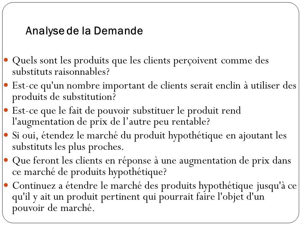 Analyse de la Demande Quels sont les produits que les clients perçoivent comme des substituts raisonnables.