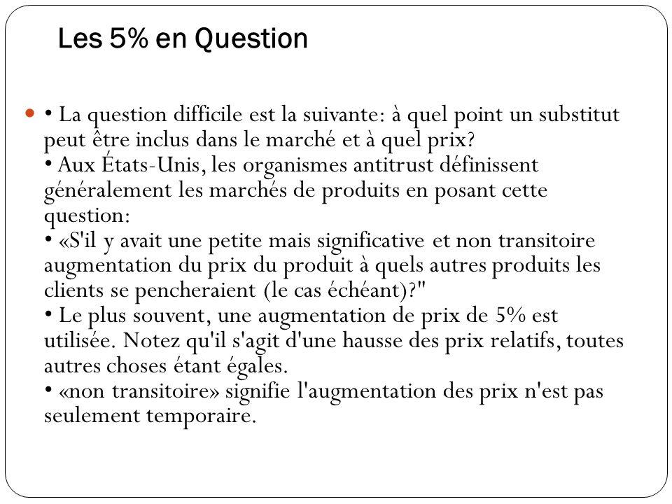Les 5% en Question La question difficile est la suivante: à quel point un substitut peut être inclus dans le marché et à quel prix.
