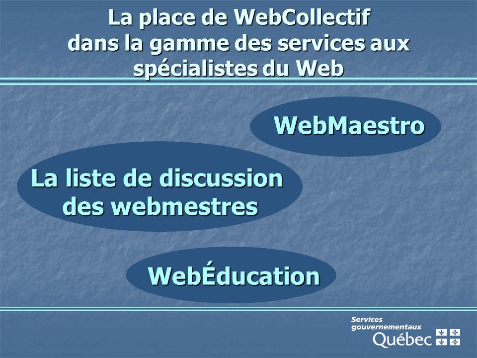 La place de WebCollectif dans la gamme des services aux spécialistes du Web La liste de discussion des webmestres WebMaestro WebÉducation
