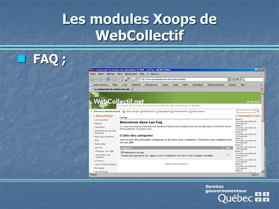 Les modules Xoops de WebCollectif FAQ ; FAQ ;