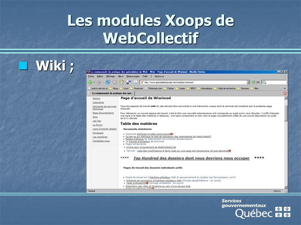 Les modules Xoops de WebCollectif Wiki ; Wiki ;