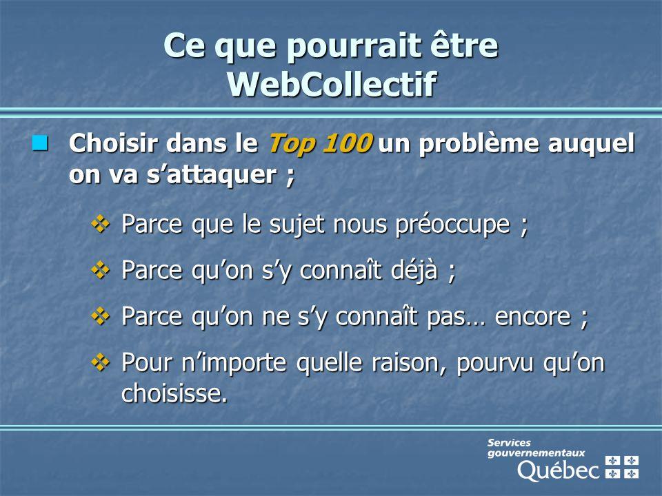 Ce que pourrait être WebCollectif Choisir dans le Top 100 un problème auquel on va s'attaquer ; Choisir dans le Top 100 un problème auquel on va s'attaquer ;  Parce que le sujet nous préoccupe ;  Parce qu'on s'y connaît déjà ;  Parce qu'on ne s'y connaît pas… encore ;  Pour n'importe quelle raison, pourvu qu'on choisisse.