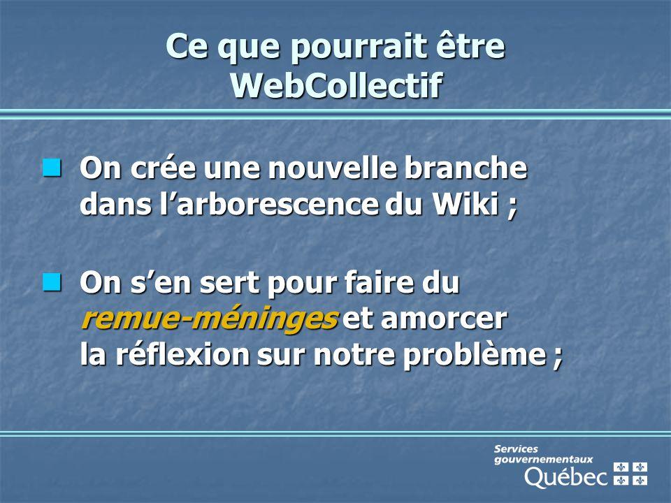 Ce que pourrait être WebCollectif On crée une nouvelle branche dans l'arborescence du Wiki ; On crée une nouvelle branche dans l'arborescence du Wiki ; On s'en sert pour faire du remue-méninges et amorcer la réflexion sur notre problème ; On s'en sert pour faire du remue-méninges et amorcer la réflexion sur notre problème ;