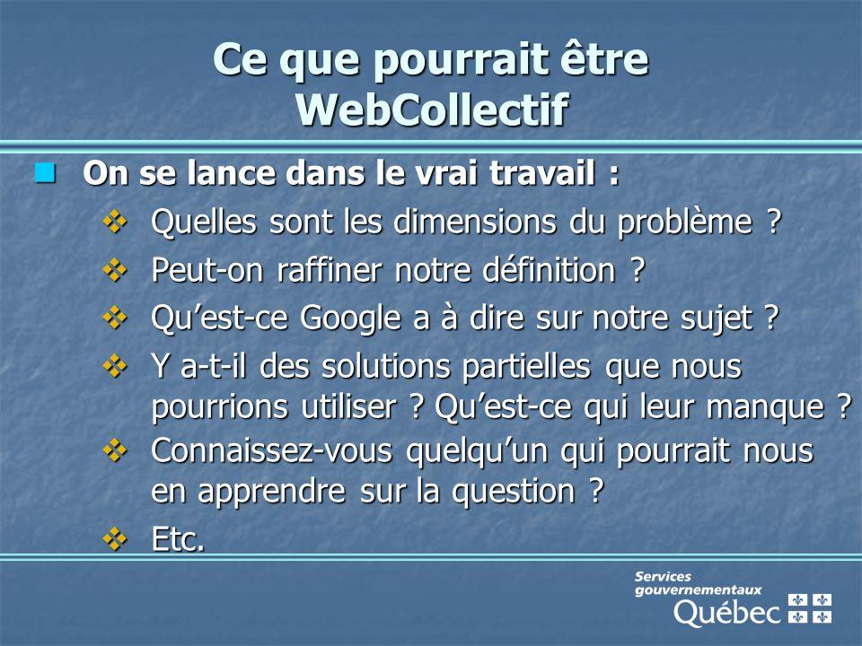 Ce que pourrait être WebCollectif On se lance dans le vrai travail : On se lance dans le vrai travail :  Quelles sont les dimensions du problème .