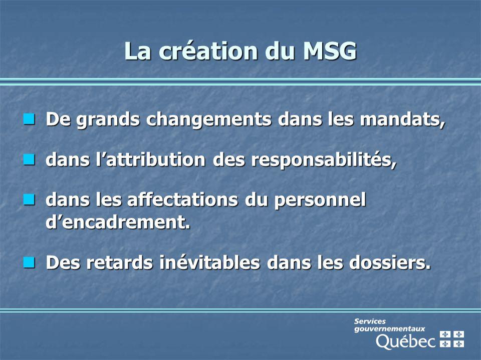 La création du MSG De grands changements dans les mandats, De grands changements dans les mandats, dans l'attribution des responsabilités, dans l'attribution des responsabilités, dans les affectations du personnel d'encadrement.