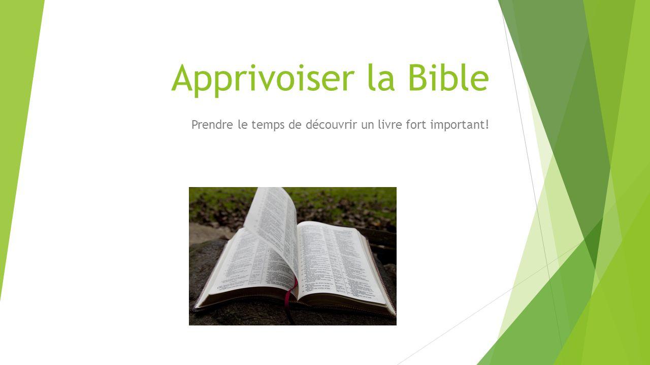 Apprivoiser la Bible Prendre le temps de découvrir un livre fort important!