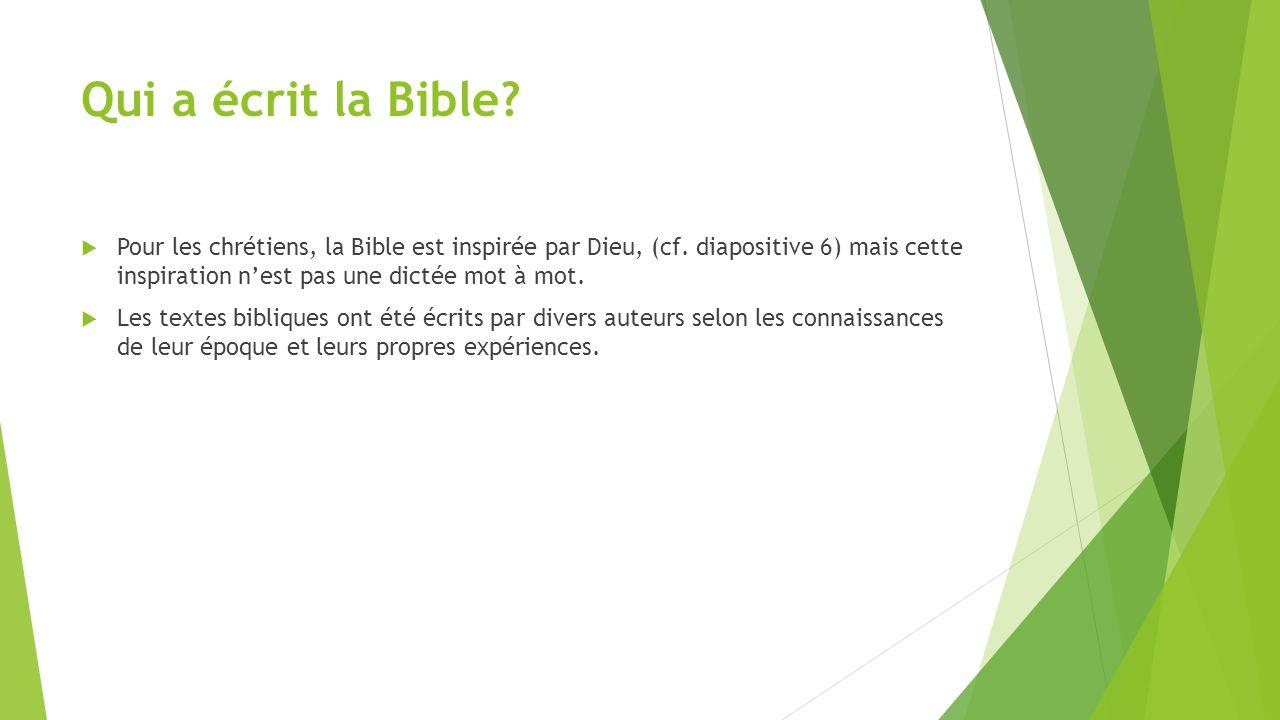 Qui a écrit la Bible?  Pour les chrétiens, la Bible est inspirée par Dieu, (cf. diapositive 6) mais cette inspiration n'est pas une dictée mot à mot.