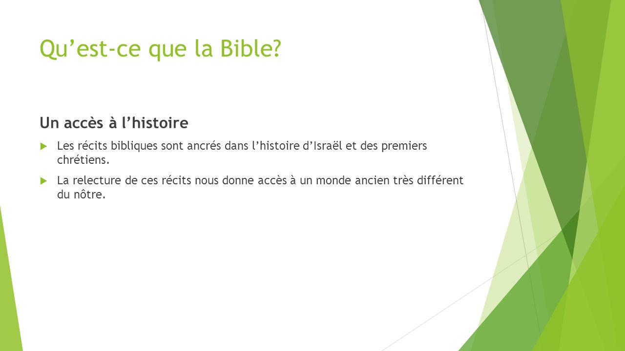 Qu'est-ce que la Bible? Un accès à l'histoire  Les récits bibliques sont ancrés dans l'histoire d'Israël et des premiers chrétiens.  La relecture de