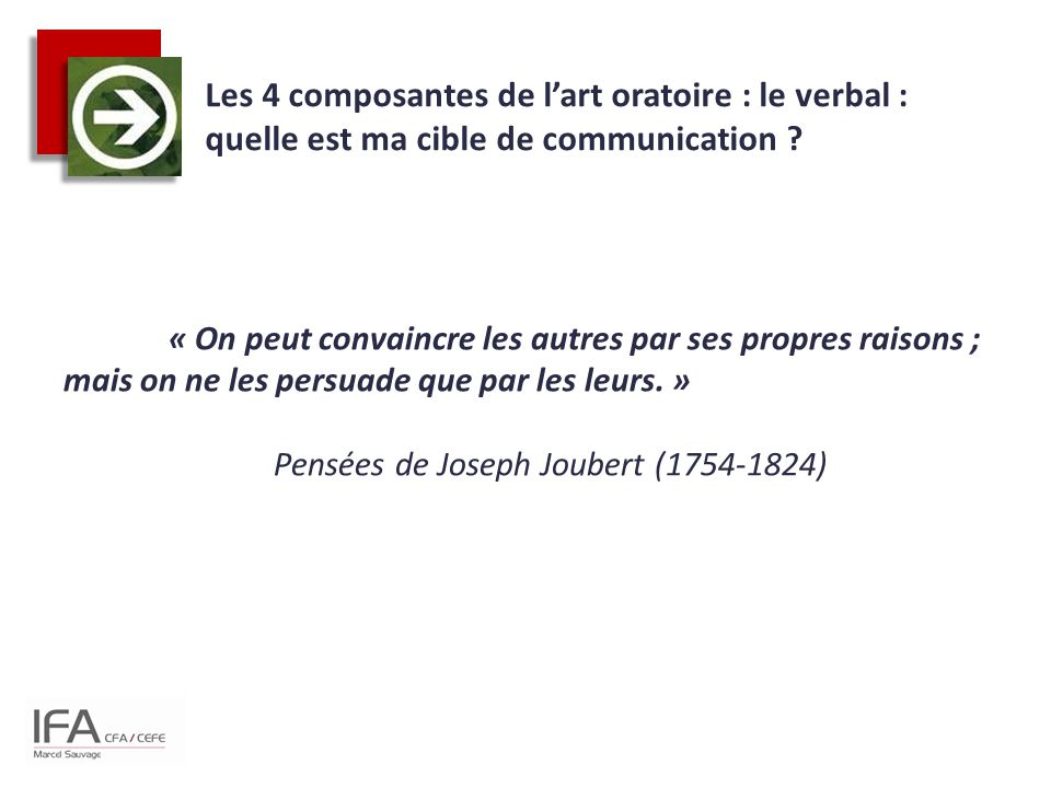 Les 4 composantes de l'art oratoire : le verbal : quelle est ma cible de communication ? « On peut convaincre les autres par ses propres raisons ; mai