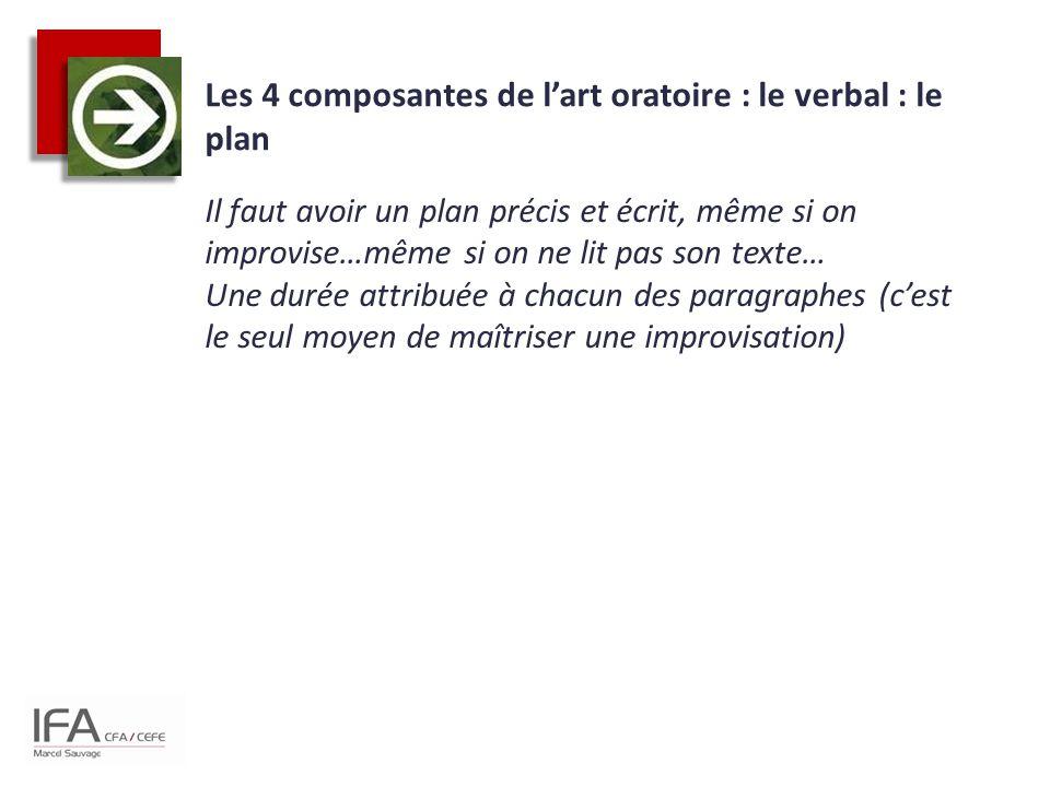 Les 4 composantes de l'art oratoire : le verbal : le plan Il faut avoir un plan précis et écrit, même si on improvise…même si on ne lit pas son texte…