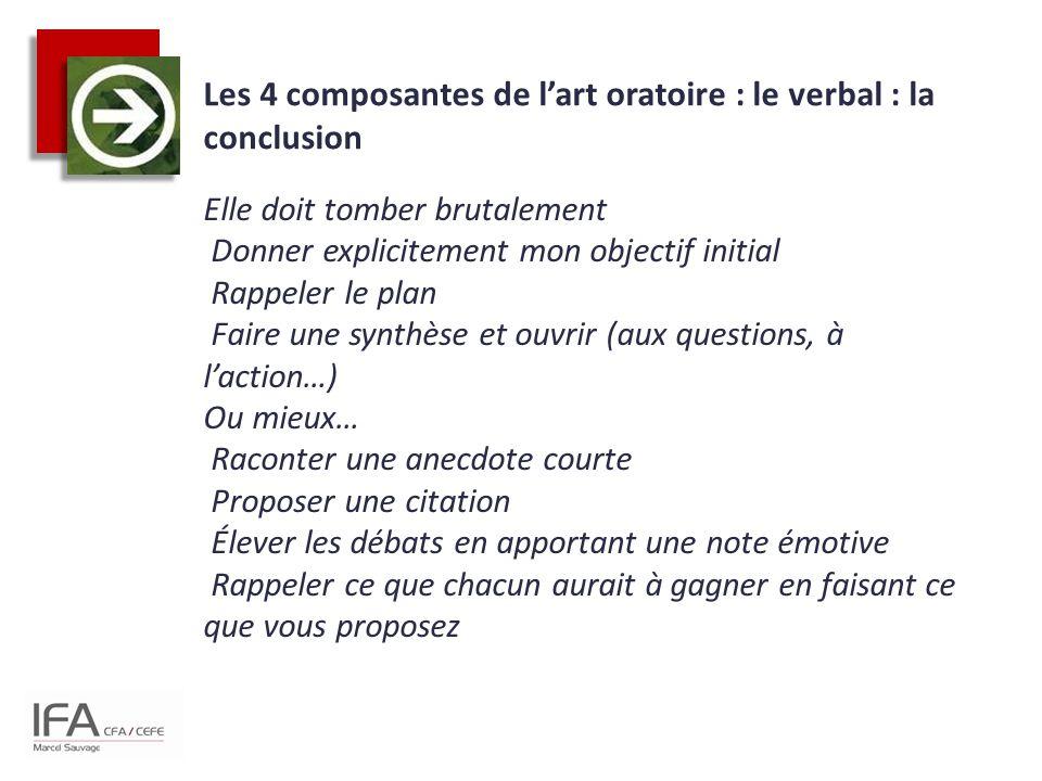 Les 4 composantes de l'art oratoire : le verbal : la conclusion Elle doit tomber brutalement Donner explicitement mon objectif initial Rappeler le pla