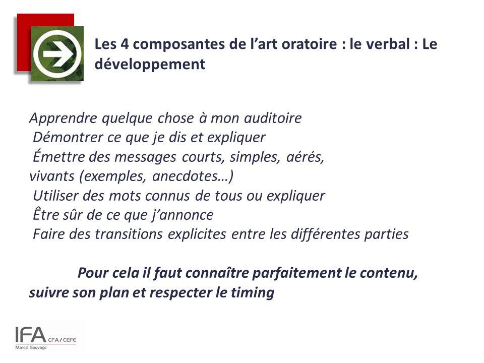 Les 4 composantes de l'art oratoire : le verbal : Le développement Apprendre quelque chose à mon auditoire Démontrer ce que je dis et expliquer Émettr