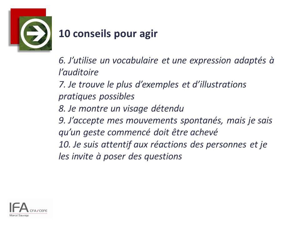 10 conseils pour agir 6. J'utilise un vocabulaire et une expression adaptés à l'auditoire 7. Je trouve le plus d'exemples et d'illustrations pratiques