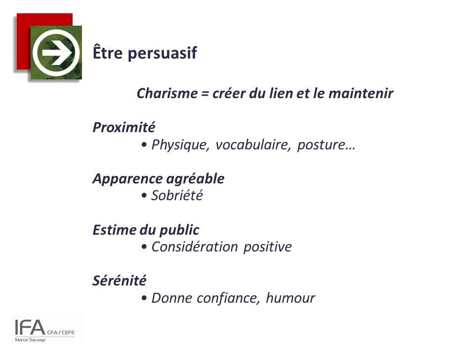 Être persuasif Charisme = créer du lien et le maintenir Proximité Physique, vocabulaire, posture… Apparence agréable Sobriété Estime du public Considé