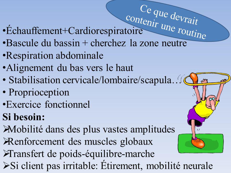 Échauffement+Cardiorespiratoire Bascule du bassin + cherchez la zone neutre Respiration abdominale Alignement du bas vers le haut Stabilisation cervic