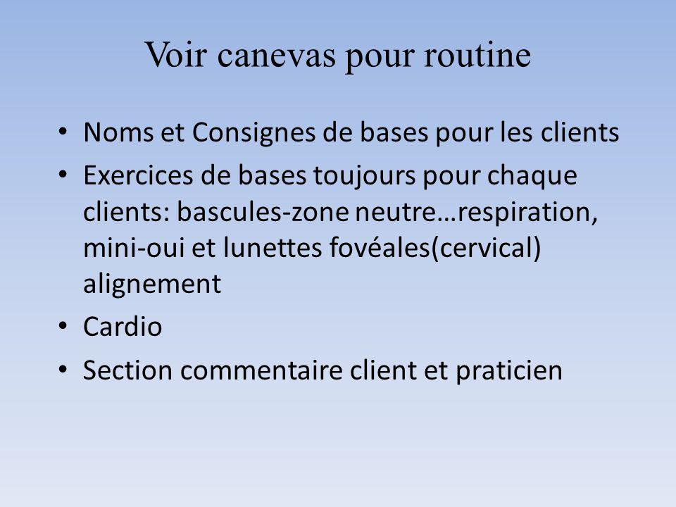 Voir canevas pour routine Noms et Consignes de bases pour les clients Exercices de bases toujours pour chaque clients: bascules-zone neutre…respiratio